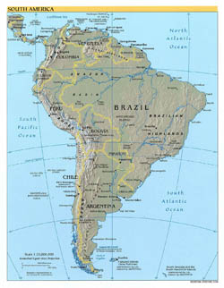 Large detailed political map of South America with relief and capitals - 2004.