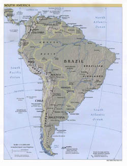 Large detailed political map of South America with relief, major cities and capitals - 2001.