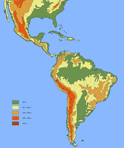 Large elevation map of South America.
