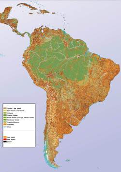 Large human impact map of South America.
