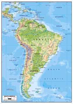 Large physical map of South America with roads and major cities.