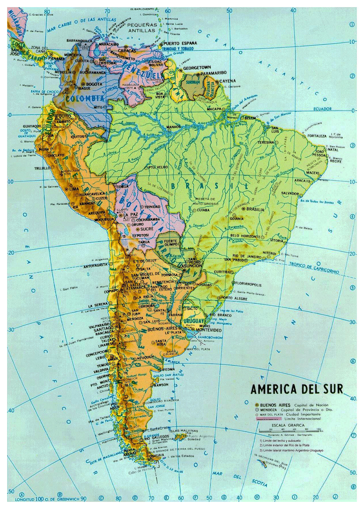 large political and hydrographic map of south america with major cities andcapitals. maps of south america and south american countries  political