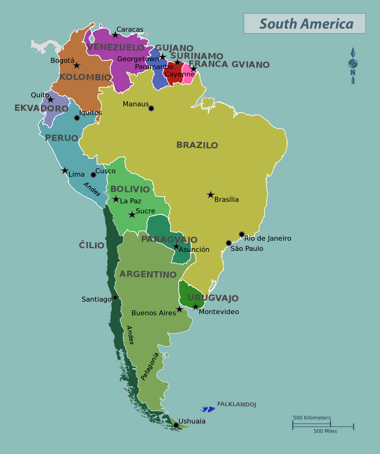 Maps Of The Americas Geography Rcist Learn Central And South - South america capitals map quiz