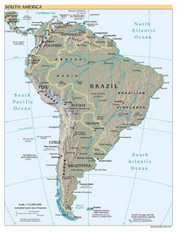 Large political map of South America with relief, major cities and capitals - 1999.