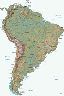 Large political map of South America with relief.