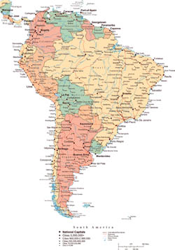 Large political map of South America with roads, major cities and capitals.