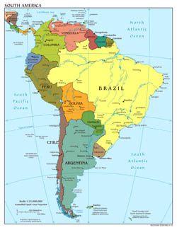Large scale political map of South America with major cities and capitals - 2012.
