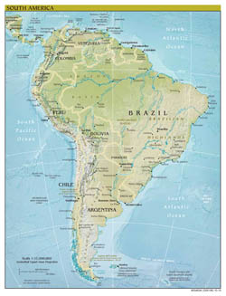 Large scale political map of South America with relief - 2010.
