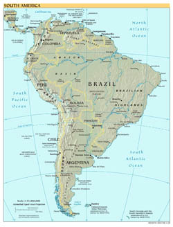 Large scale political map of South America with relief and capitals - 2001.