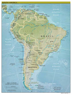 Large scale political map of South America with relief, major cities and capitals - 2011.