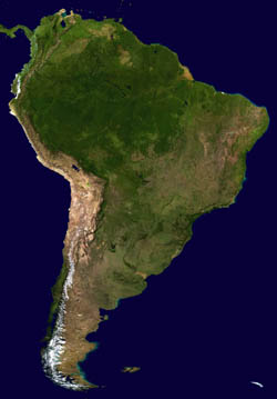 Large scale satellite map of South America.