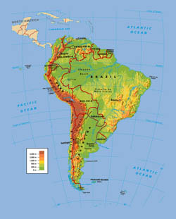 Political and physical map of South America.