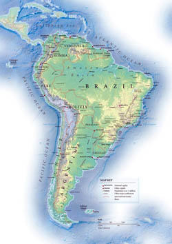Political map of South America with relief.