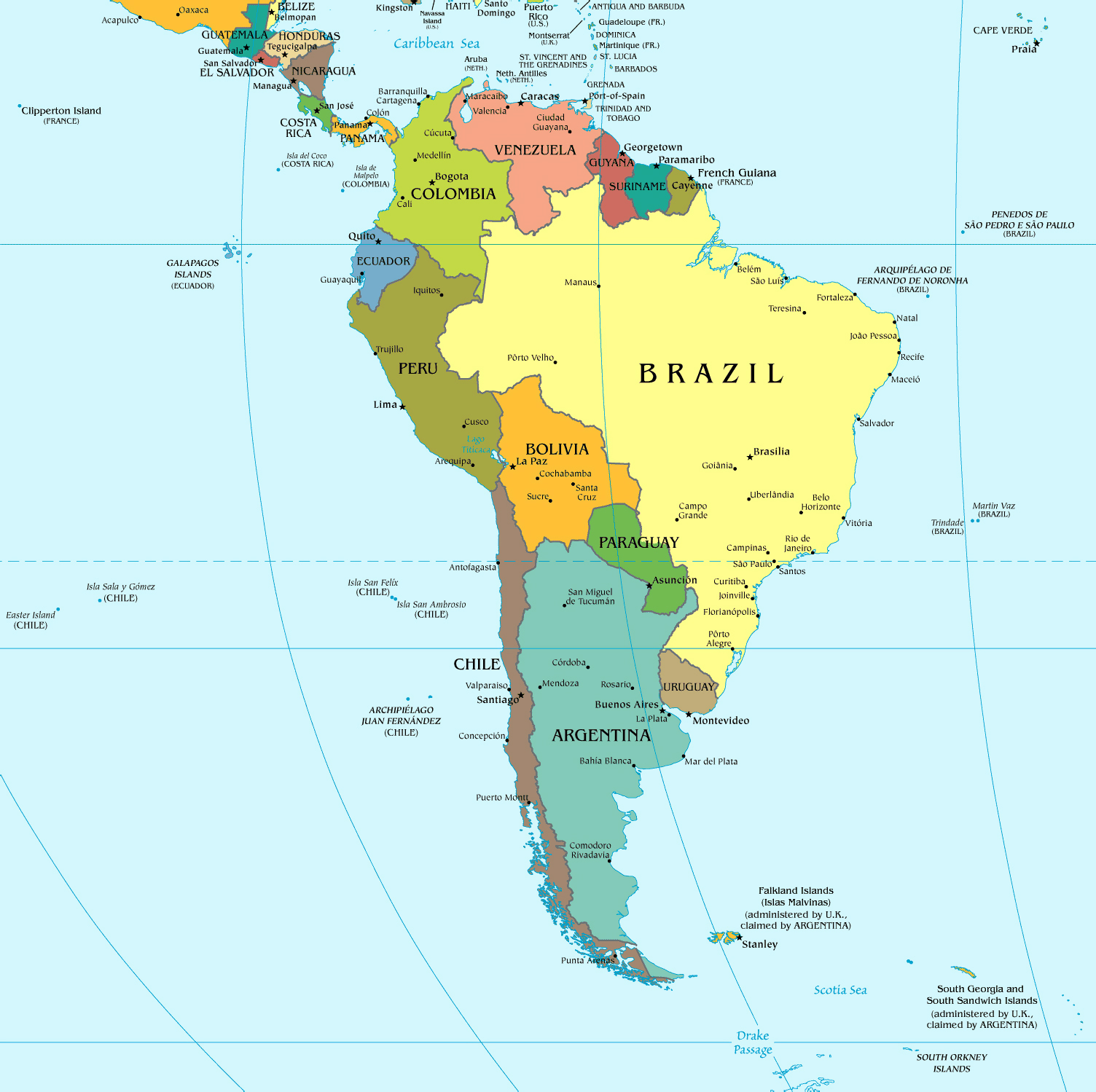 Maps of South America and South American countries Political maps