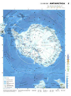 Detailed physical map of Antarctica.