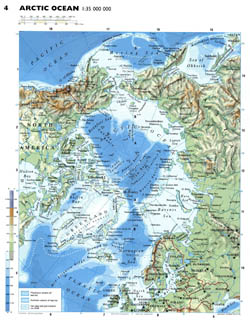 Detailed physical map of Arctic Ocean.
