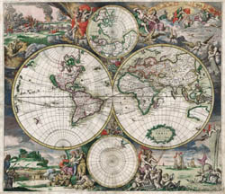 Large detailed antique political map of the World 1689.