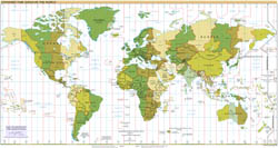Large detailed map of Standart Time Zones of the World - 2008.