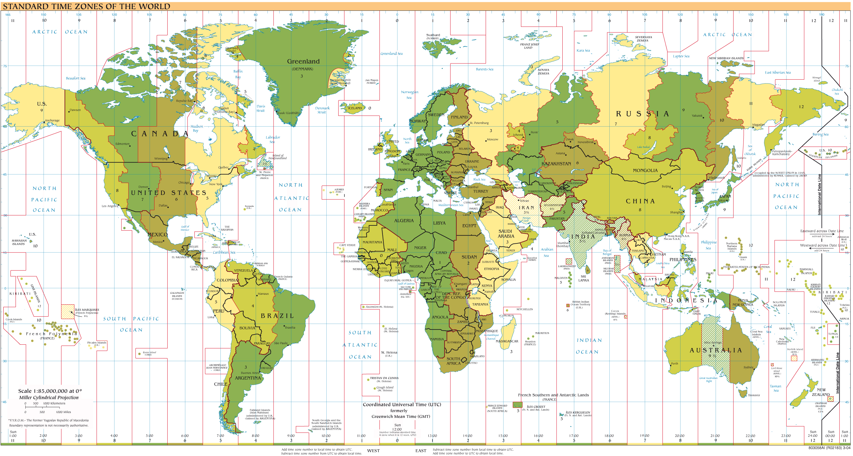 large detailed map of standart time zones of the world 2004