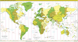 Large detailed map of Time Zones of the World - 2011.