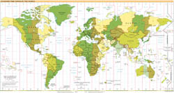 Large detailed map of Time Zones of the World - 2000.