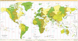 Large detailed map of Time Zones of the World - 2007.