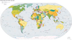 Large detailed political map of the World - 2005.
