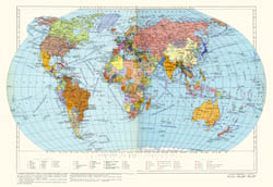Large detailed political map of the World since Soviet Times.