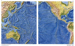 Large detailed relief map of Pacific Ocean.