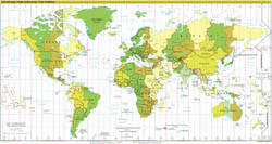 Large detailed Time Zones map of the World - 2010.