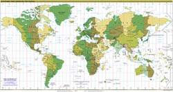 Large detailed Time Zones map of the World - 2012.