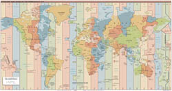Large detailed Time Zones map of the World - 2015.