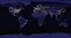 Large map of Earth at Night.