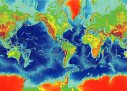 Large map of the Earth fractured surface.