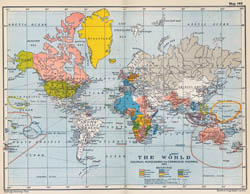 Large old political map of the World - 1910.
