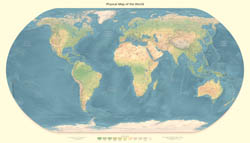 Large physical map of the World.