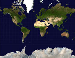 Large satellite map of the World.