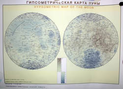Large detailed hypsometric map of the Moon.